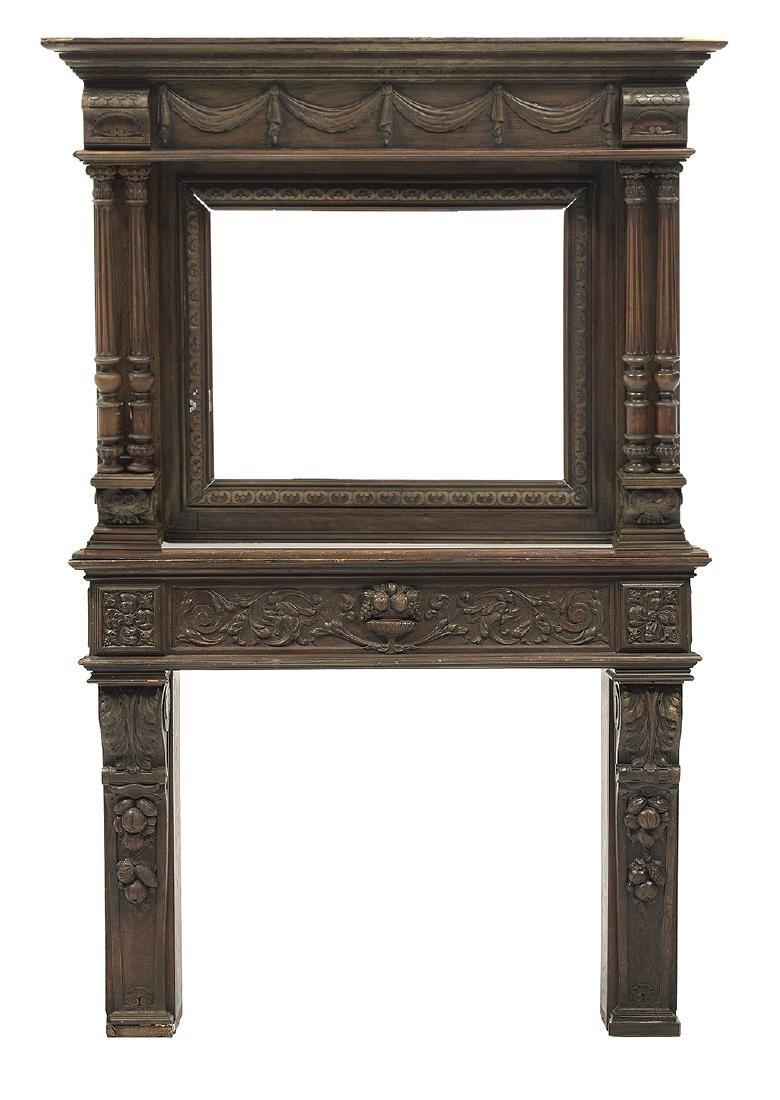 Henri II-Style Carved Oak Fireplace Surround