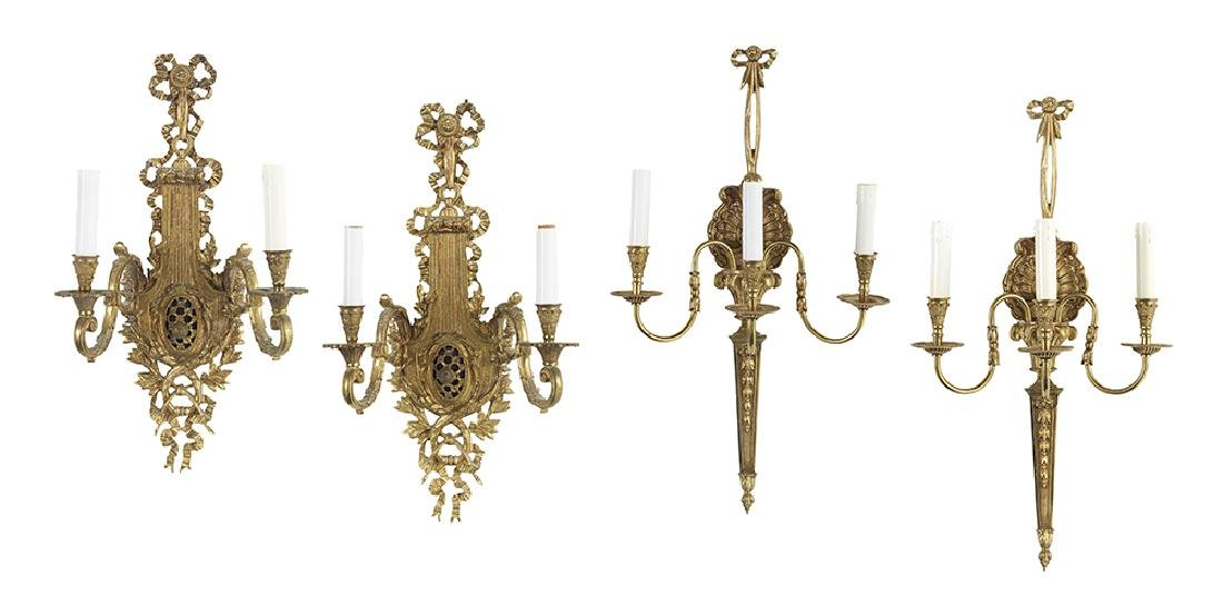 Two Pairs of Molded Bronze Sconces