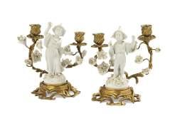 Pair of Gilt-Bronze and Blanc-de-Chine Candelabra
