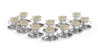 12 Pc Silver  Porcelain Demitasse Set