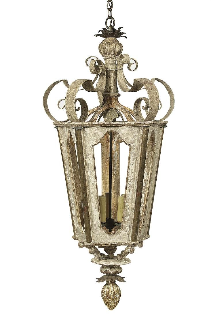 Louis XIV-Style Wood and Metal Strapwork Lantern