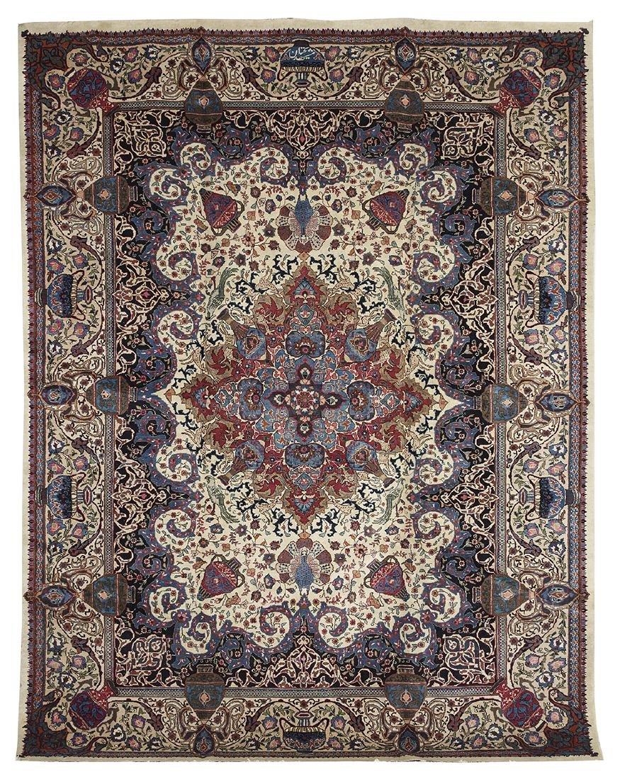 Semi-Antique Pictorial Tabriz Carpet