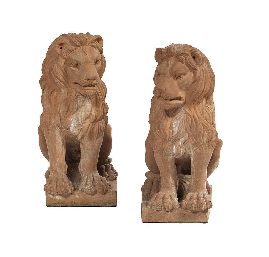 Pair of Impruneta Garden Figures of Seated Lions