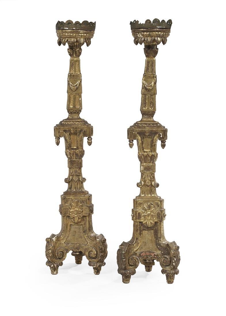 Pair of Monumental Carved Giltwood Altar Sticks
