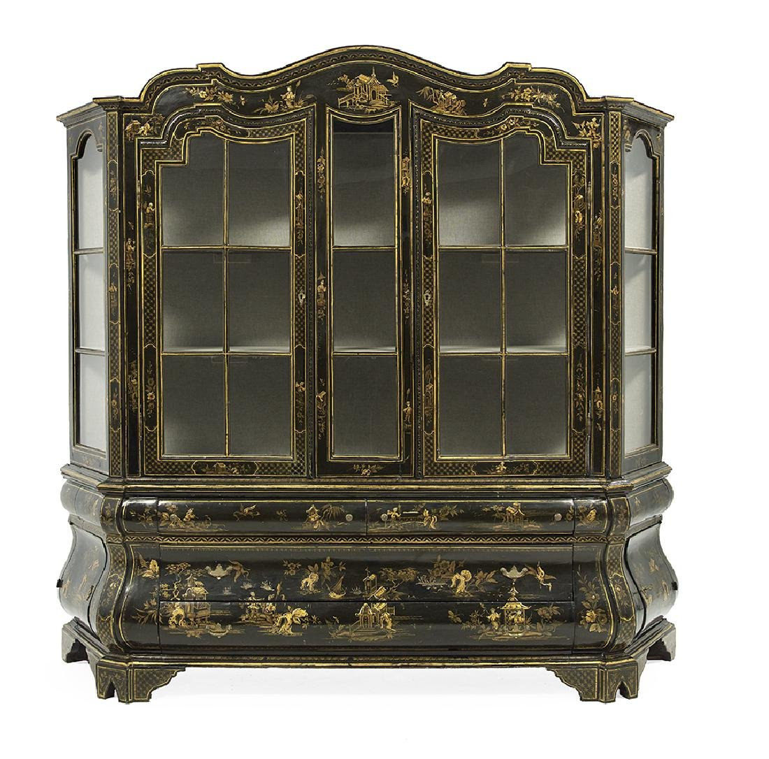 Dutch Chinoiserie Polychrome Display Cabinet