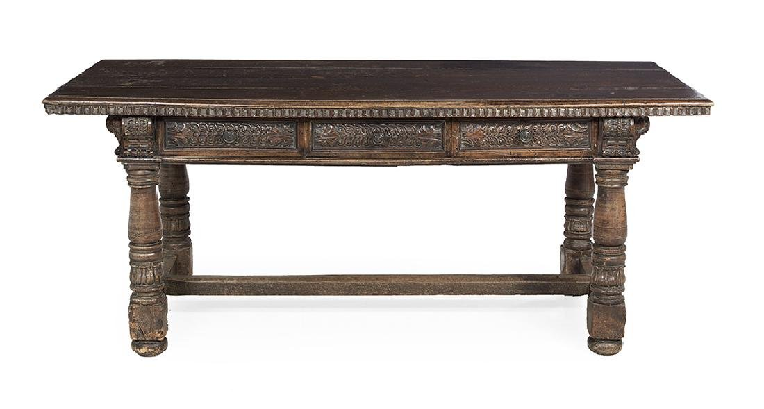 Early Spanish Carved Fruitwood Farmhouse Table