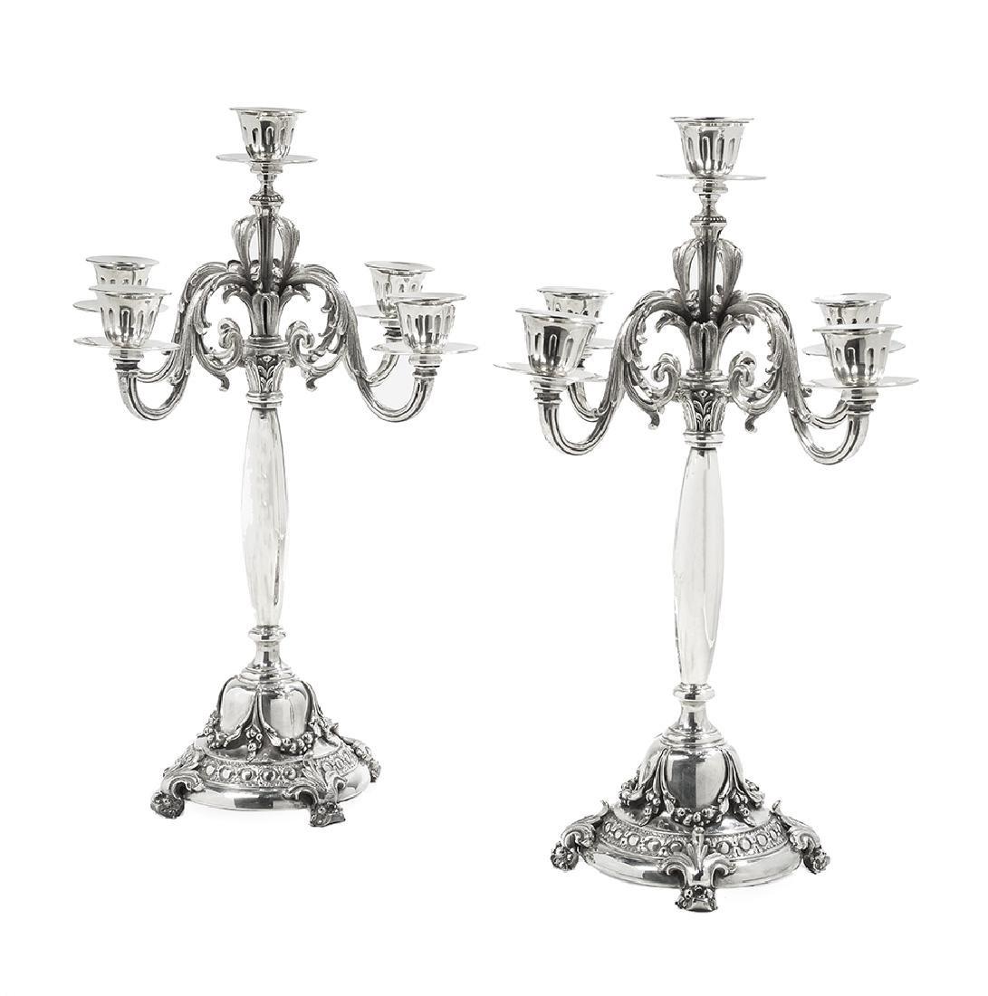 Pair of Italian Silver Candelabra