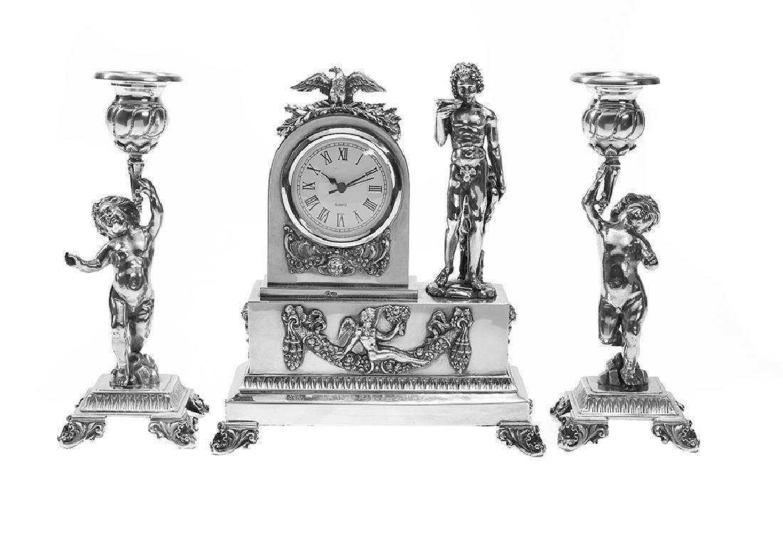Three-Piece Spanish Silver Desk Garniture