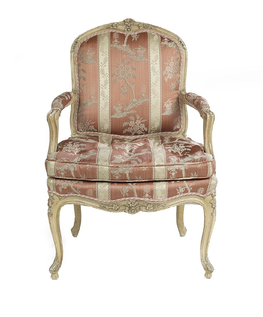 Louis XV-Style Polychrome Fauteuil
