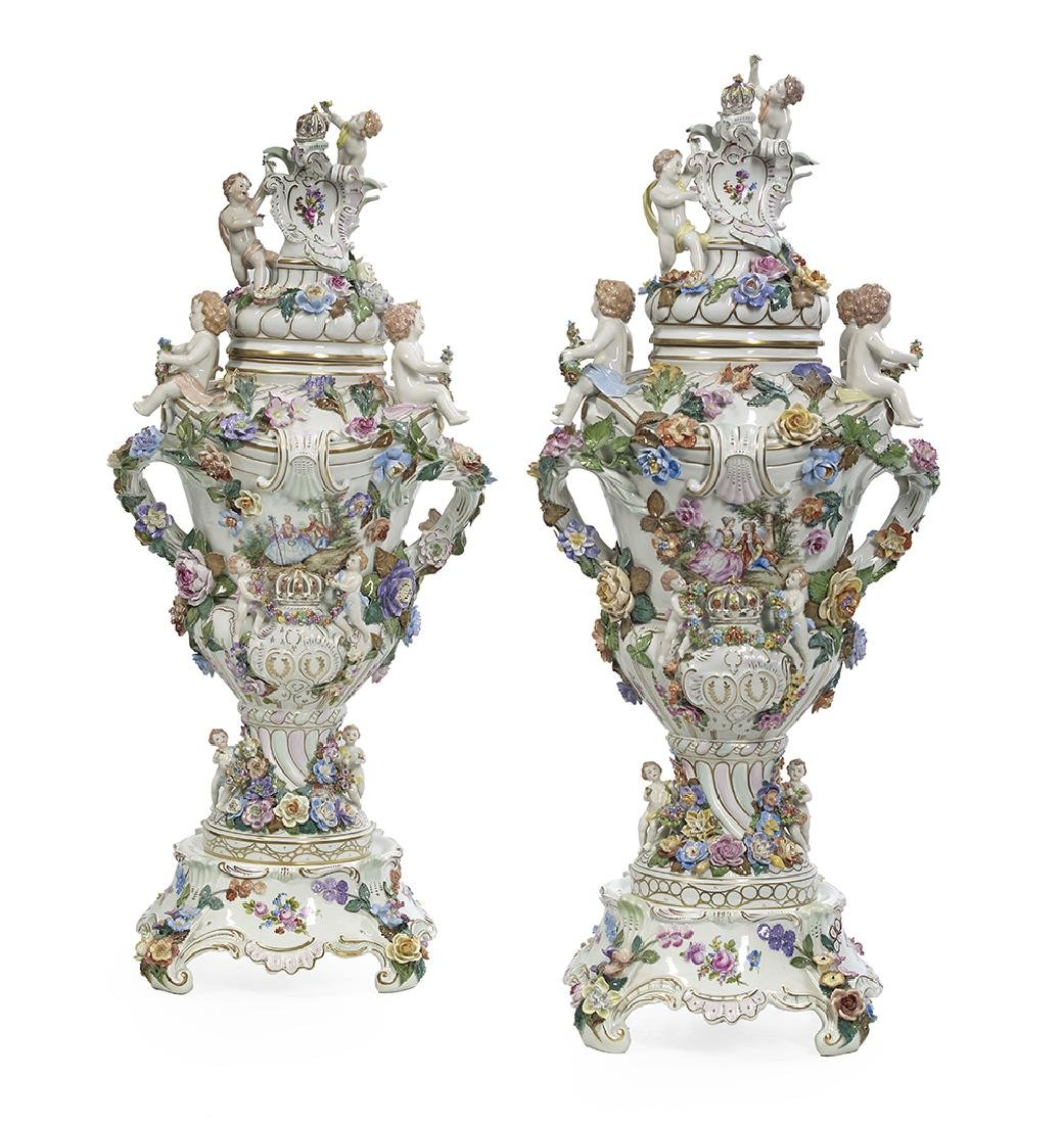 Pair of Carl Thieme Porcelain Covered Urns