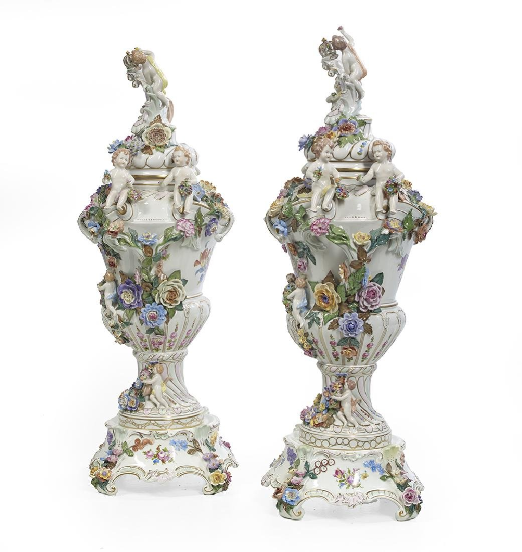 Pair of Carl Thieme Porcelain Covered Urns - 2