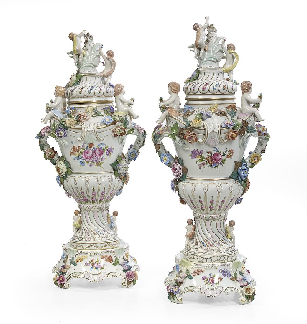 Pair of Carl Thieme Porcelain Covered Urns - 3