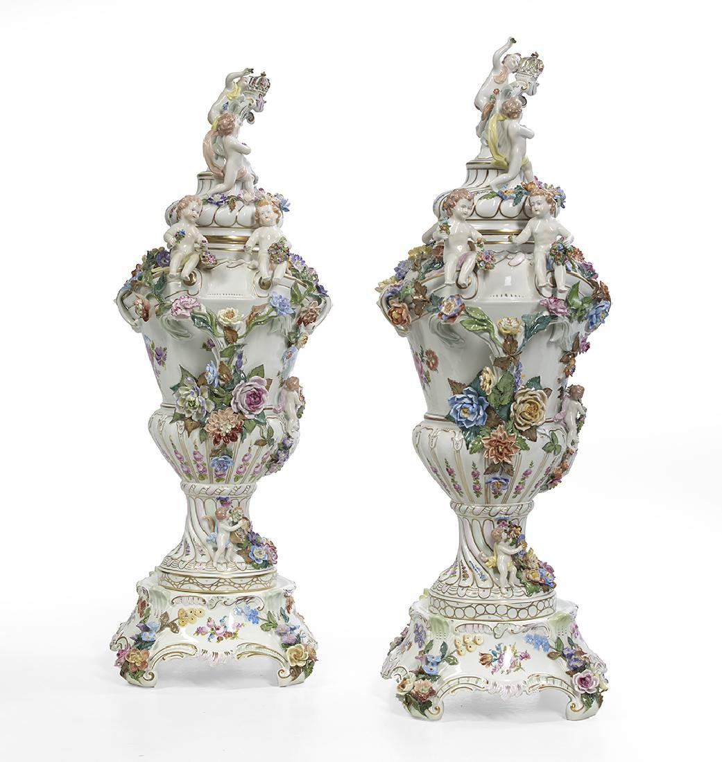 Pair of Carl Thieme Porcelain Covered Urns - 4
