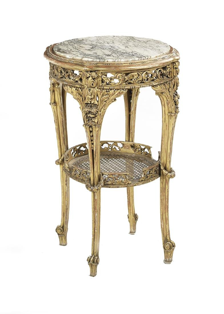 Louis XV/XVI-Style Marble-Top Occasional Table