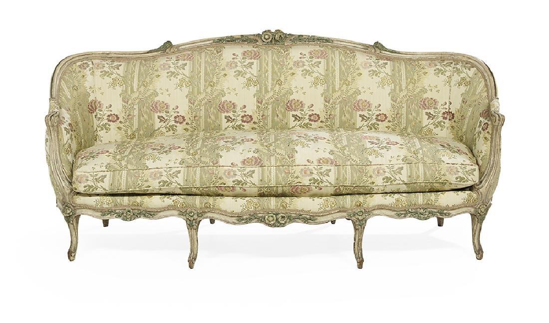 Louis XV-Style Polychrome Sofa