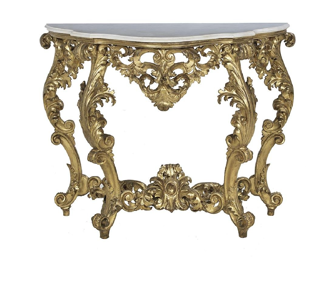 Louis XV-Style Giltwood Console Table