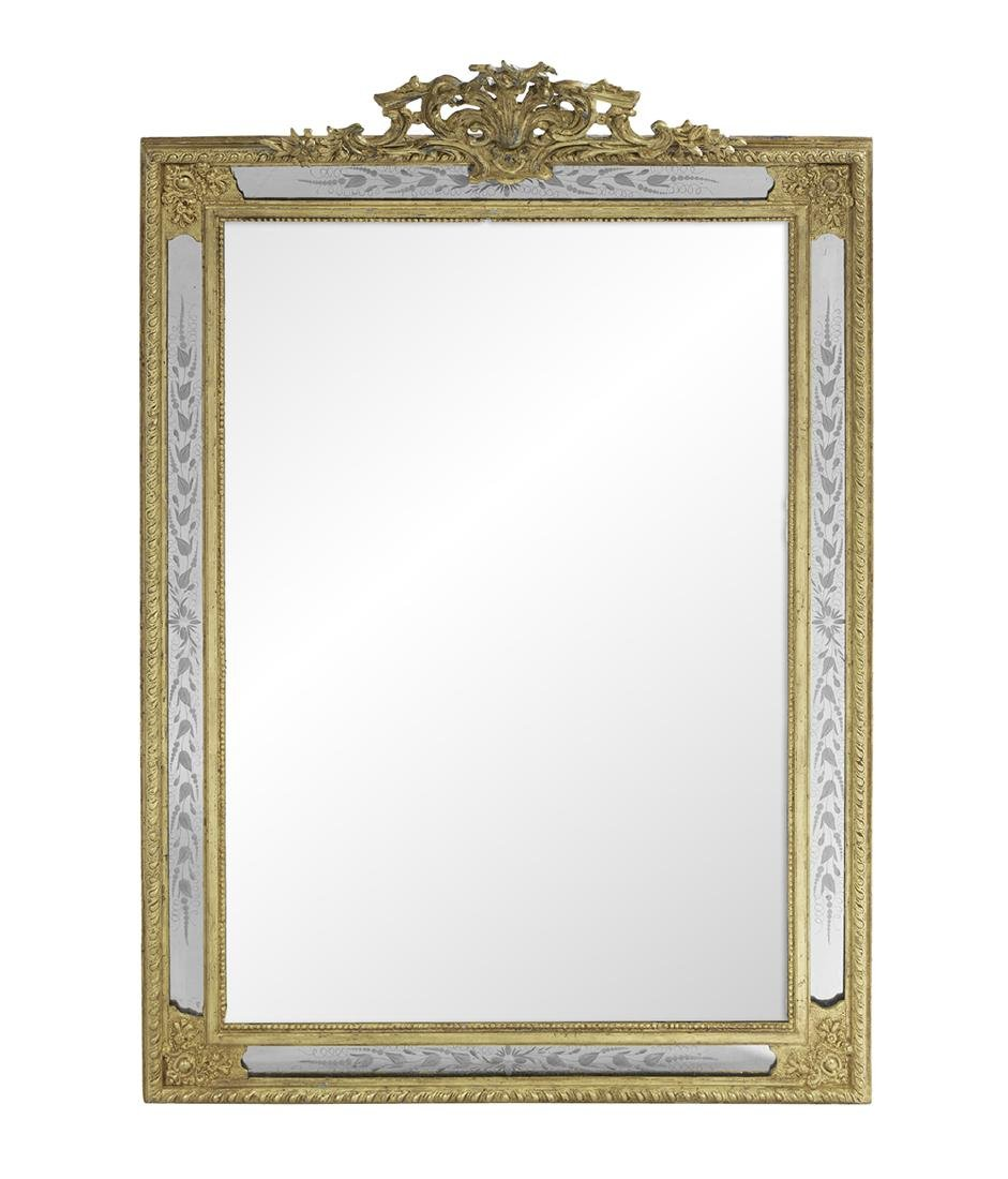 Engraved Giltwood Mirror of Rococo Inspiration