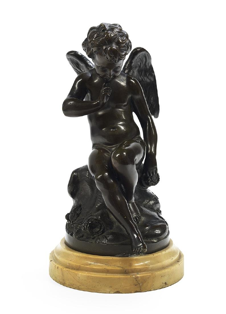 French Patinated Bronze of a Winged Putto