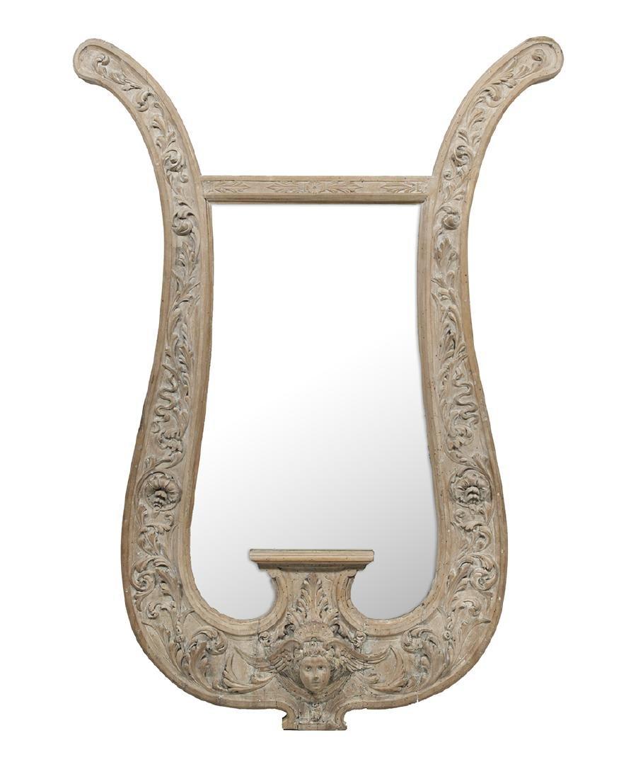 Unusual Continental Lyre-Form Mirror