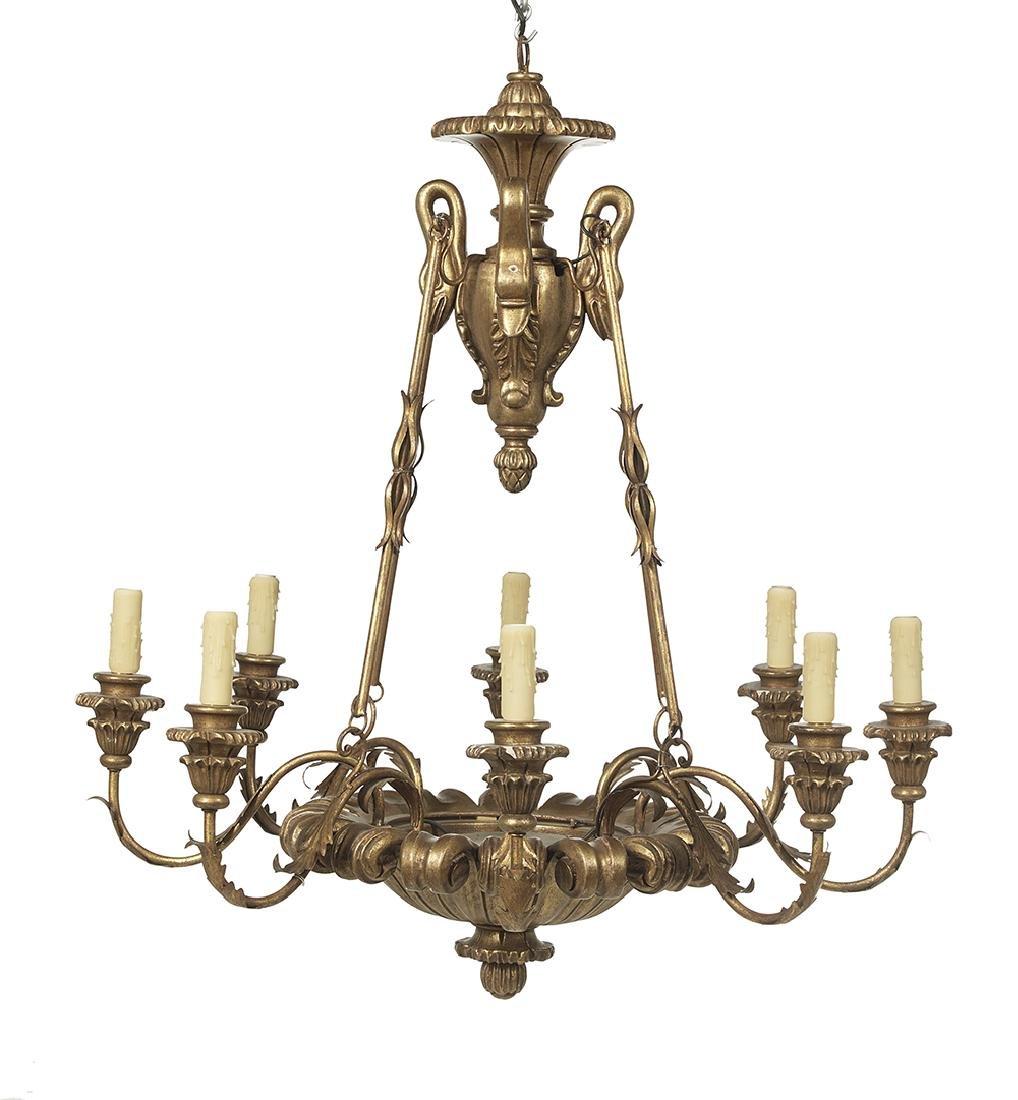 Pair of Neoclassical-Style Giltwood Chandeliers