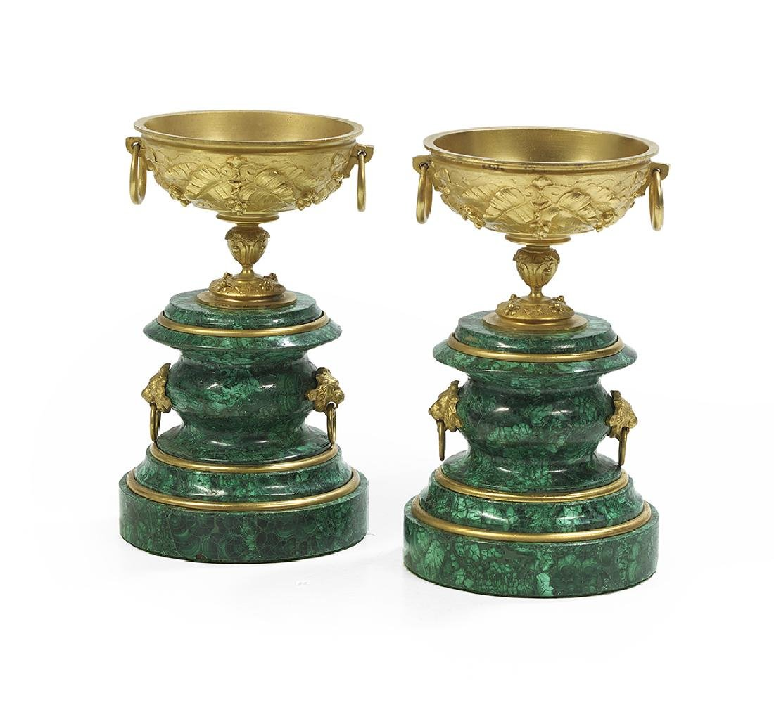 Pair of Malachite-Clad Chalices on Stands