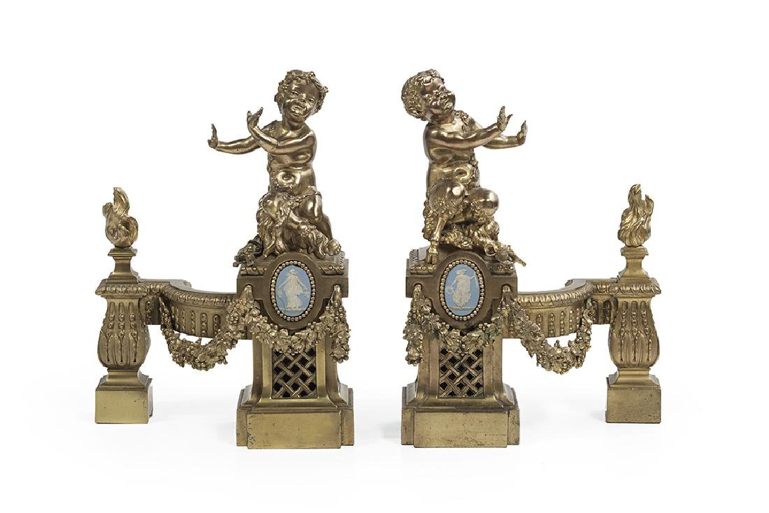 Unusual Pair of Stoneware-Mounted Bronze Chenets