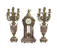 French Marble and Gilt-Bronze Clock Set