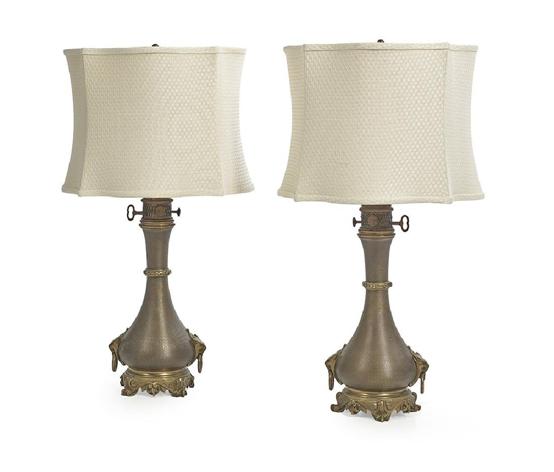Pair of French Neo-Grec Moderator Lamps