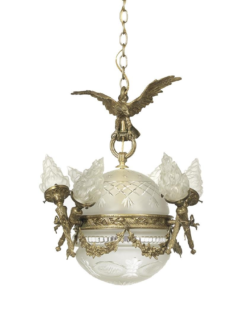 Beaux-Arts Bronze and Crystal Chandelier