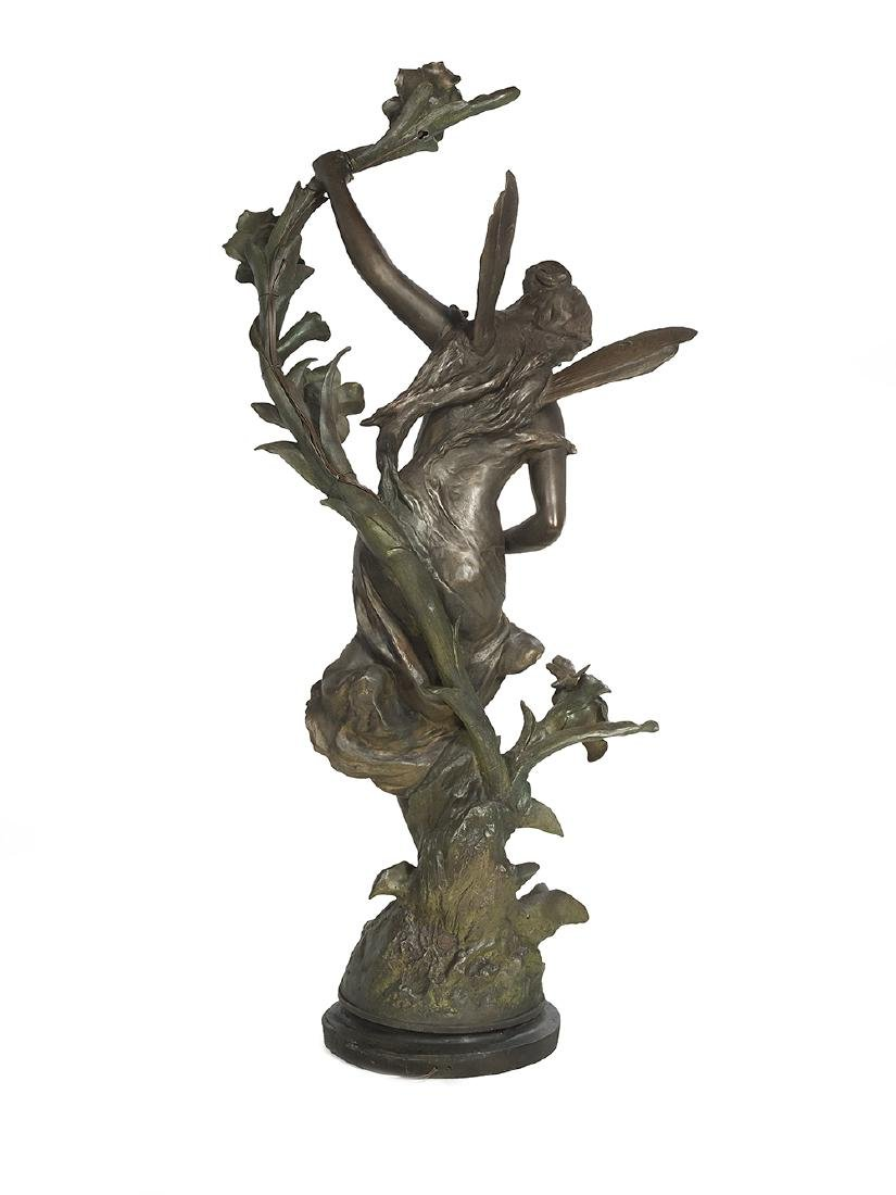 Art Nouveau Patinated Metal Newel Post Lamp - 2