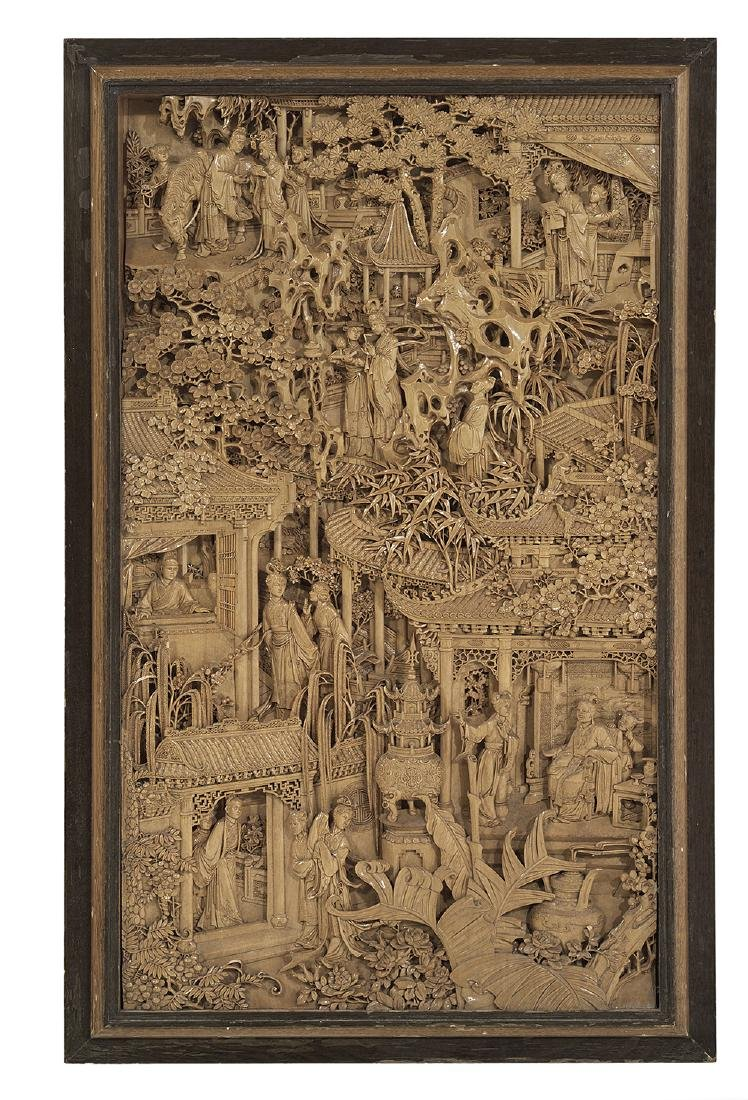 Exquisite Chinese Dongyang Carved Wood Panel