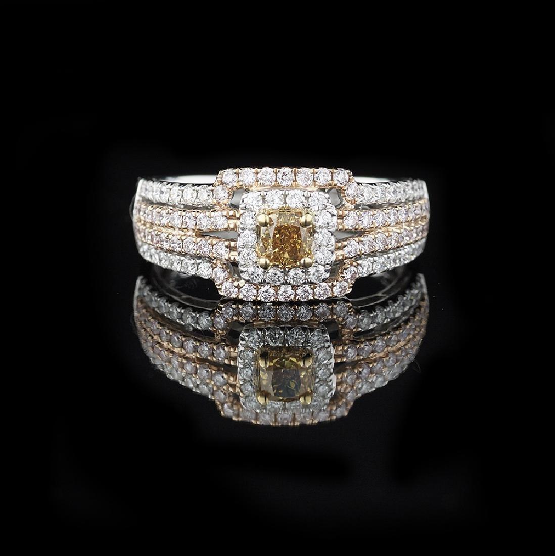 Yellow/Brown and White Diamond Ring