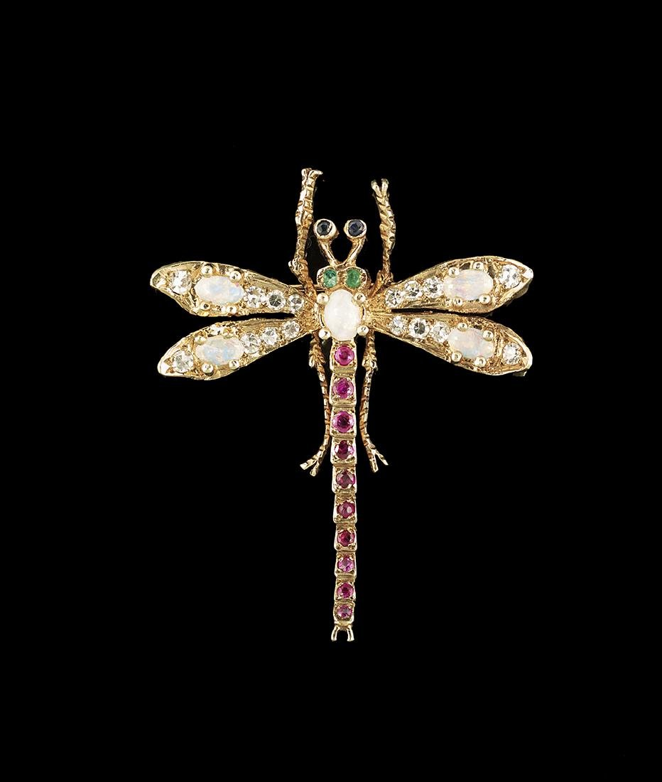 Multi-Stone Dragonfly Brooch