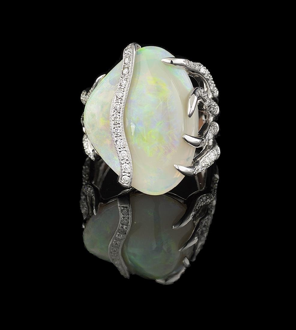 Unusual Opal and Diamond Ring