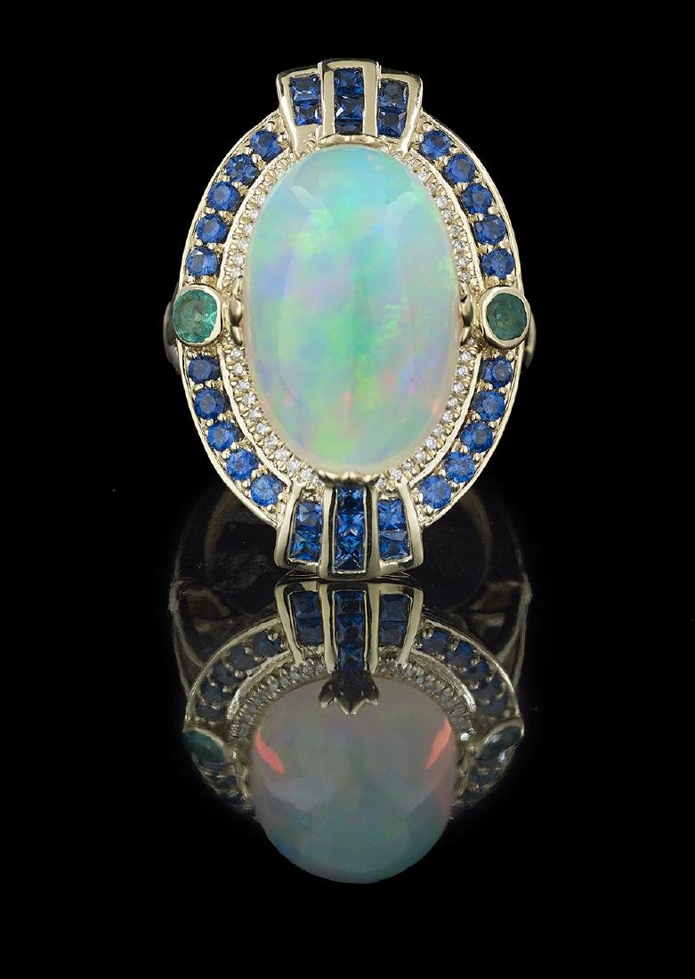 Opal, Sapphire and Emerald Ring