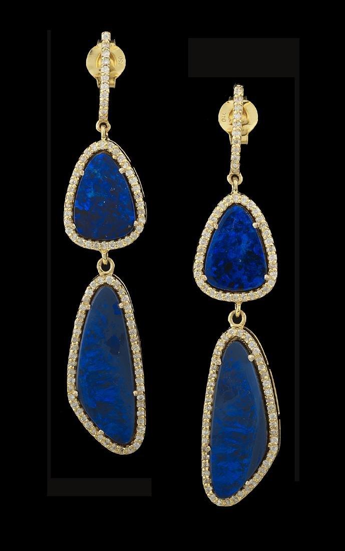 Beautiful Blue Opal and Diamond Earrings