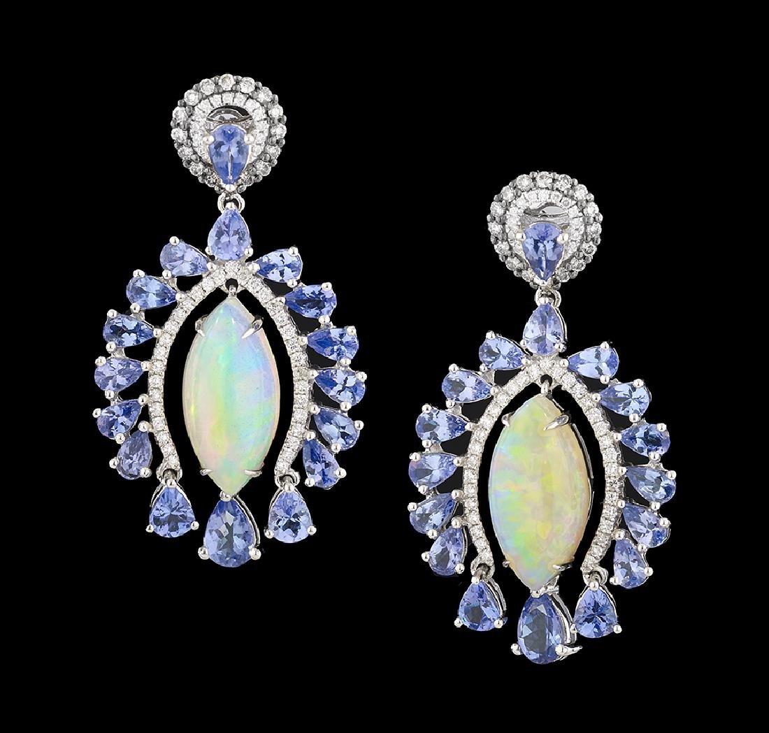 Opal, Tanzanite and Diamond Earrings