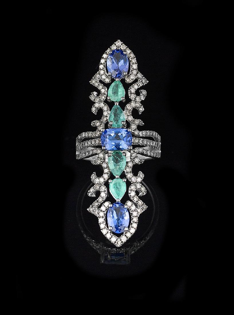 Tanzanite, Emerald and Diamond Full-Finger Ring
