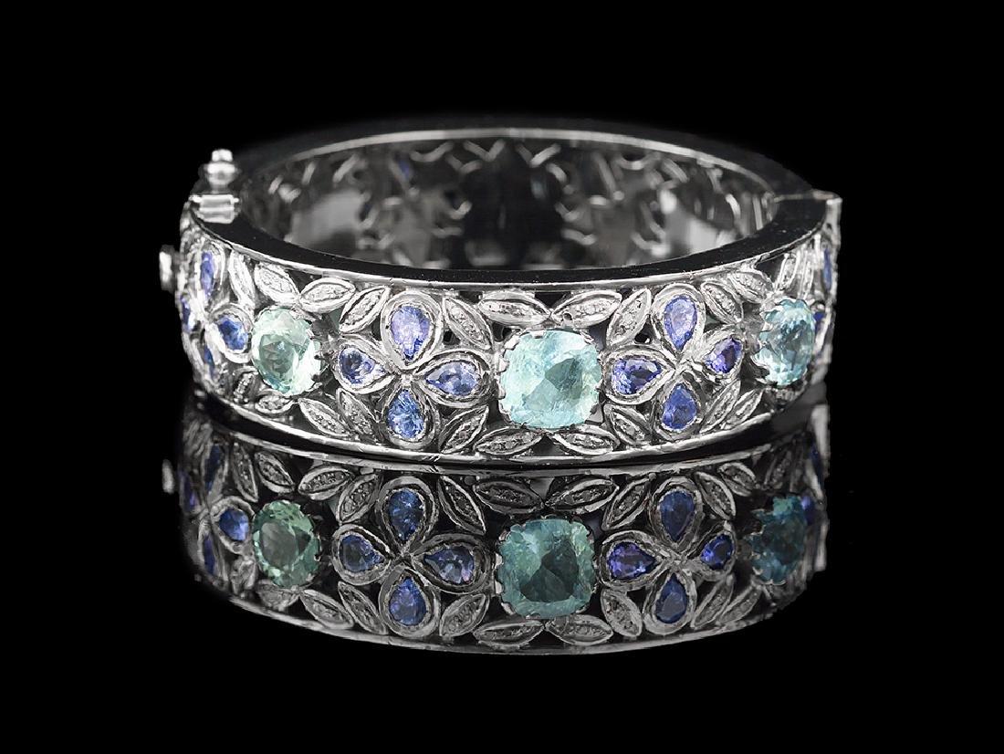 Aquamarine, Tanzanite and Diamond Bangle Bracelet