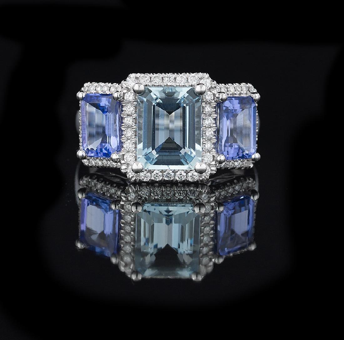 Beautiful Aquamarine, Tanzanite and Diamond Ring
