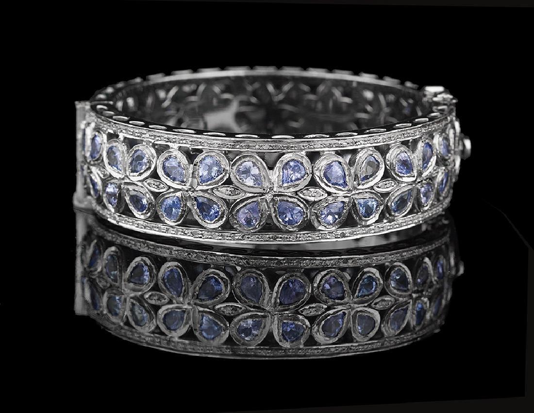 Tanzanite and Diamond Bangle Bracelet