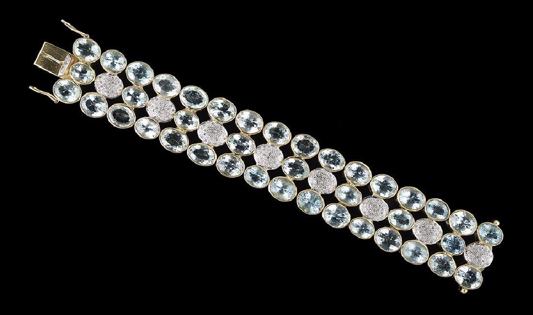 Aquamarine and Diamond Bracelet - 2