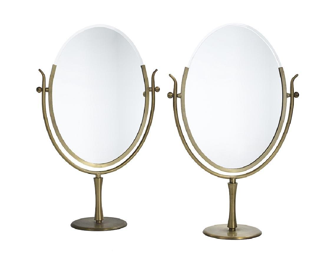 Pair of Mid-Century Modern Brass Dressing Mirrors