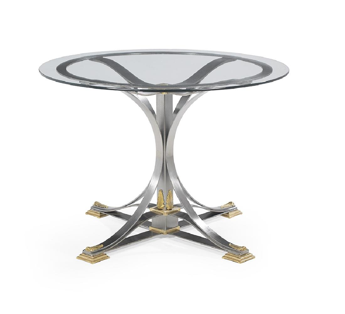 Contemporary Brass, Steel and Glass Center Table