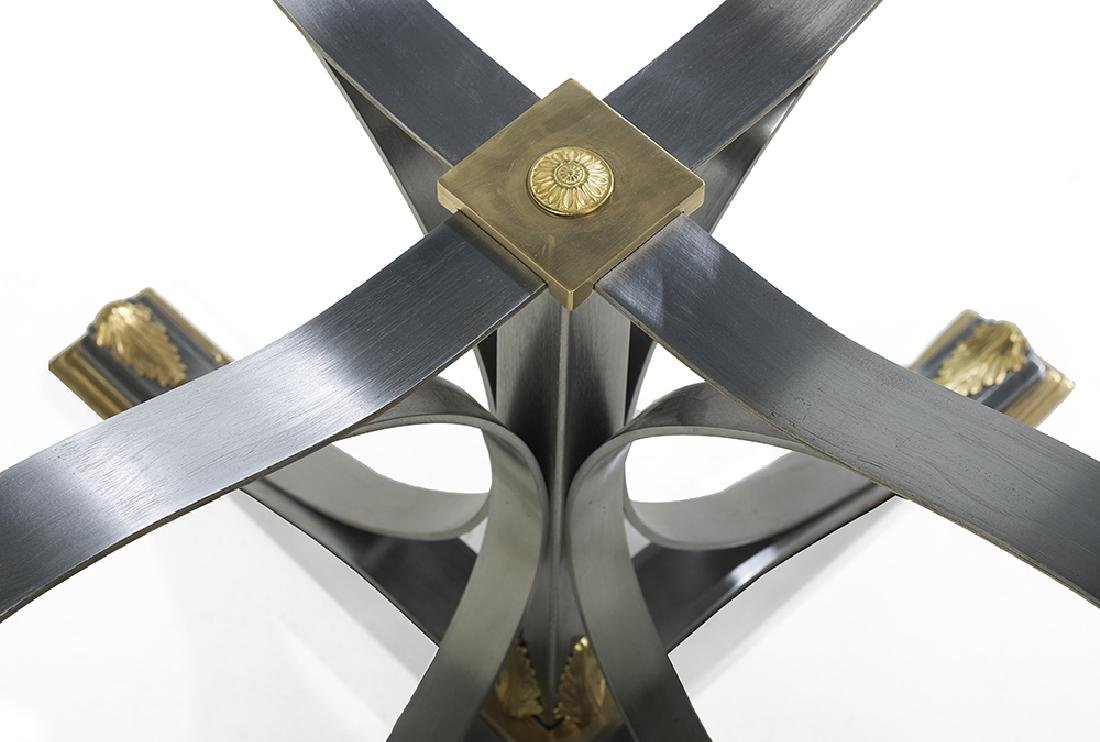 Contemporary Brass, Steel and Glass Center Table - 2