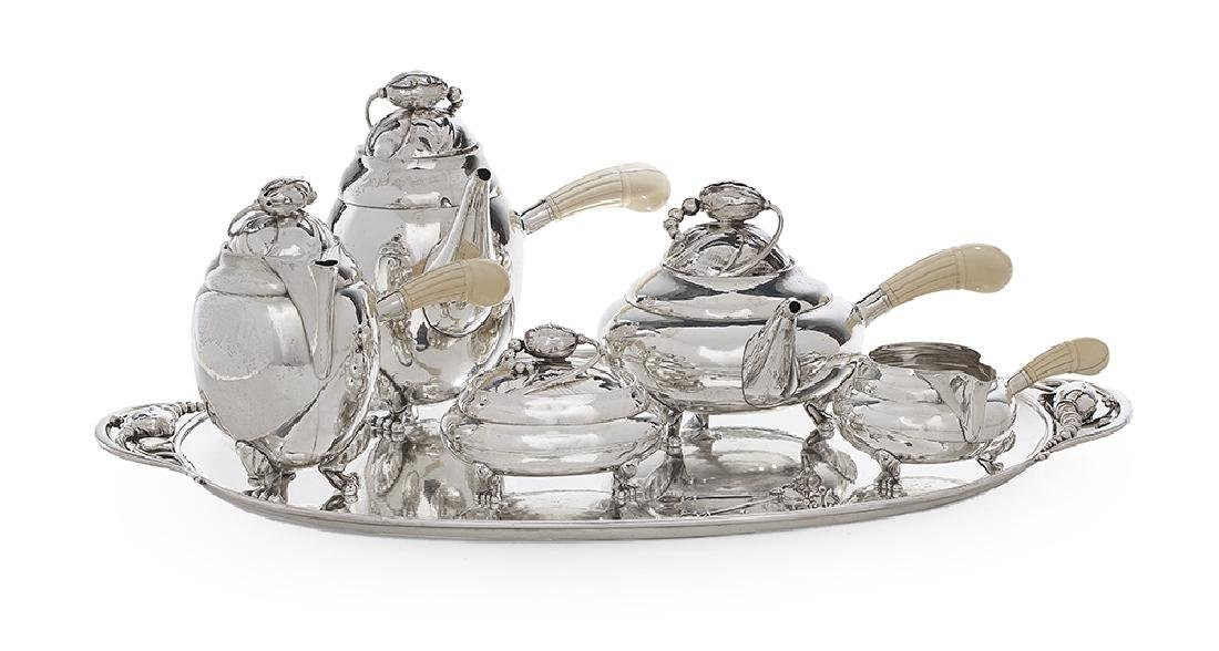 "Georg Jensen ""Blossom"" Sterling Silver Tea Set"
