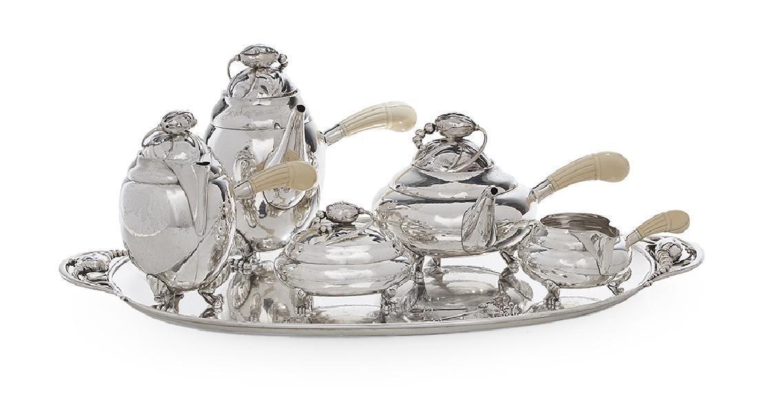 "Georg Jensen ""Blossom"" Sterling Silver Tea Set"
