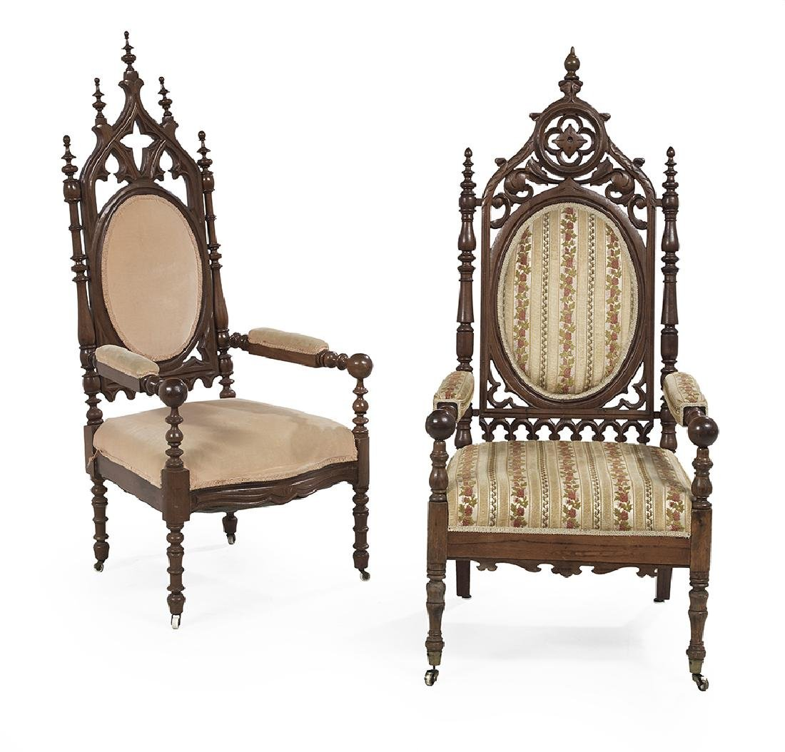 Two American Gothic Revival Walnut Armchairs