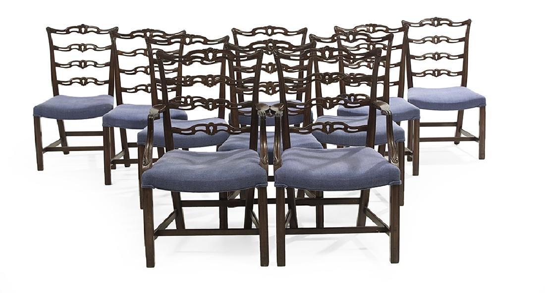 Ten George III-Style Mahogany Dining Chairs