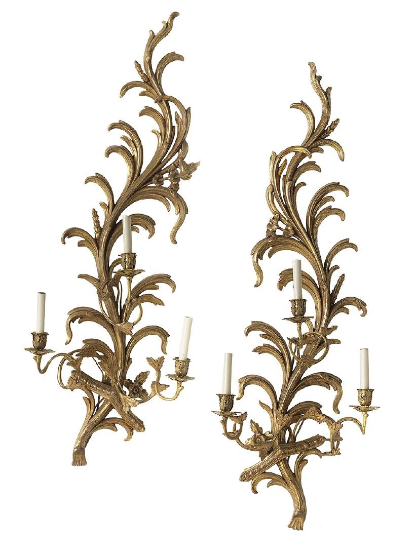 Pair of French Giltwood and Gilt-Brass Sconces